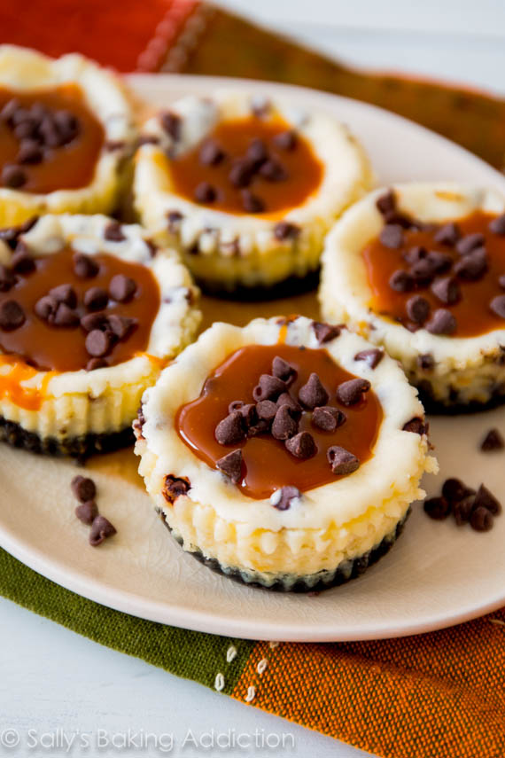 Caramel Chocolate Chip Cheesecakes.