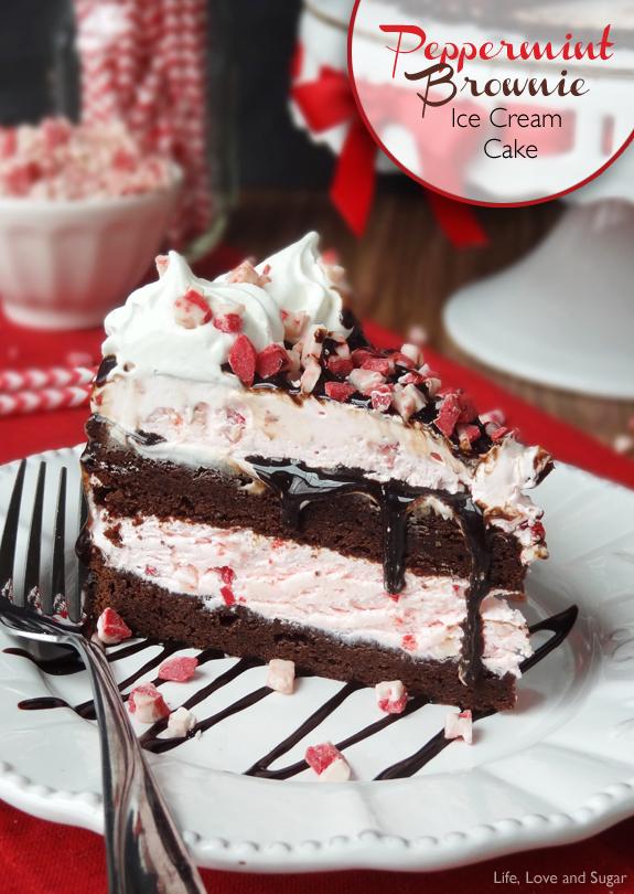 Christmas Peppermint Brownie Ice Cream Cake