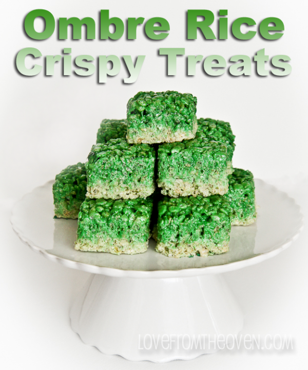 Green Ombre St. PAtricks Day Rice Crispy Treats