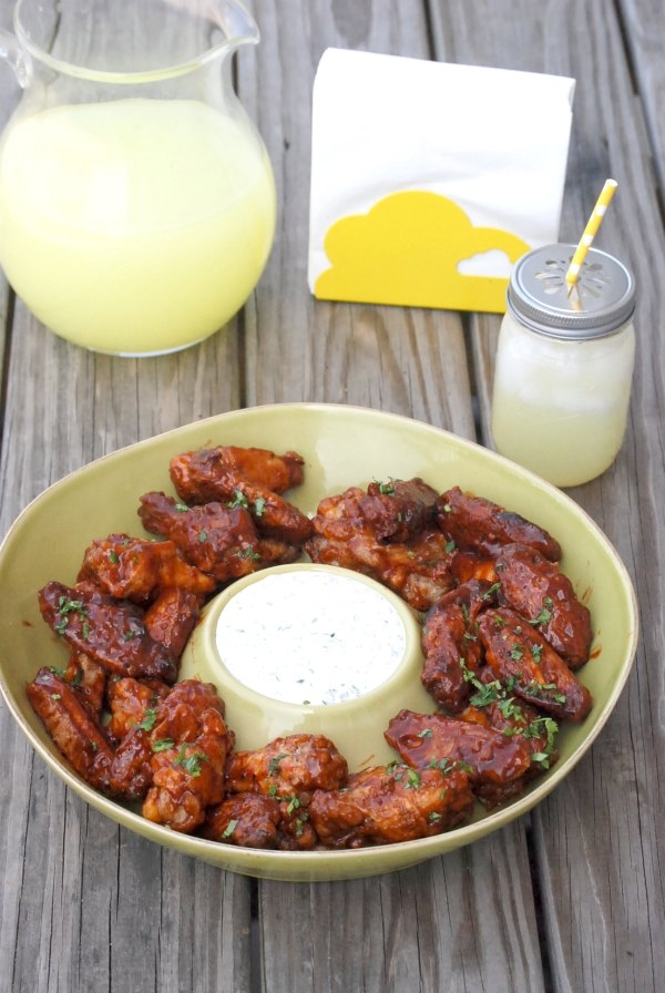 BBQ'd  Bacon Chipotle Wings with Cilantro Ranch Dipping Sauce